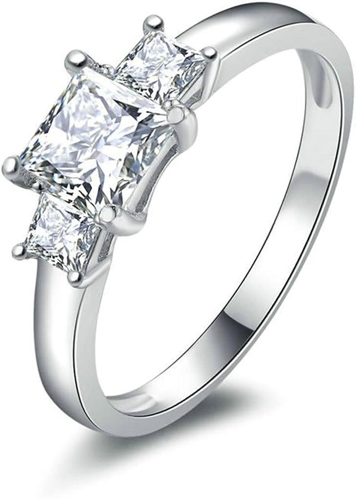 Daesar Joyería Anillos de Compromiso de Plata S925 Mujer, Brillantes Diamantes Cónicos de Talla Baguette con Tres Piedras Anillo de Pedida