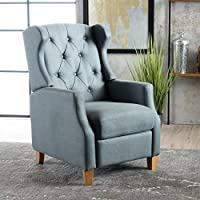 Grantwood Blue Grey Fabric Tufted Recliner