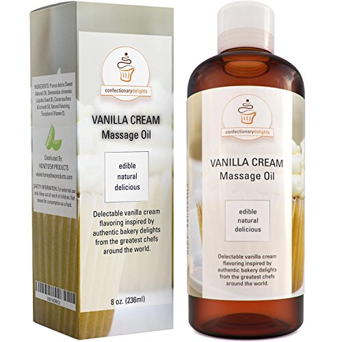 Edible Vanilla Erotic Massage Therapy Oils with Powerful Aphrodisiac & Skin Care Benefits - Natural Carrier Oils for Sensual Massage with Jojoba Sweet Almond & Coconut Oil - Therapeutic Muscle Relief (Best Massage Oil For Her)