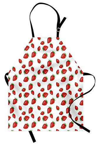 (T&H Home Spring Apron, Cartoon Style Strawberries on White Background Fresh Sweet Fruit Pattern Image, Unisex Kitchen Bib Apron Adjustable for Kids Adults Cooking Baking Gardening, Red and White)