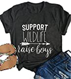 Mom of Boys Girls T-Shirts Support Wildlife Raise Boys Girls Mom Life Tees