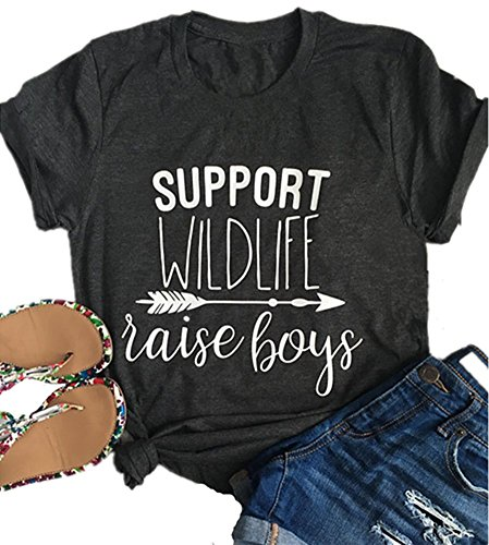 Mom of Boys Girls T-Shirts Support Wildlife Raise Boys Girls Mom Life Tees by hiphop tees