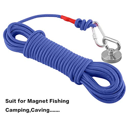 MHDMAG Magnet Fishing Rope, Carabiner Braid Rope, Nylon Rope with Steel Wire Core for Commercial, Anchors, Crafts, Blocks, Pulleys, Towing, Cargo, Tie-Downs