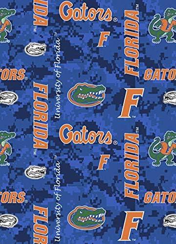 FLORIDA GATORS CAMOUFLAGE FLEECE FABRIC-FLORIDA FLEECE BLANKET FABRIC-BY THE YD