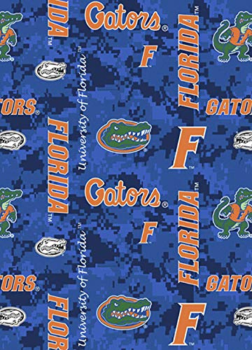 Fleece University of Florida Gators Digital Camouflage Blue College Fleece Fabric Print by The Yard (A502.62)
