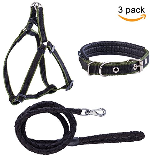 (Petender Dog Leash Harness Collar Adjustable & Durable Nylon Braided Leash Set for Small/Medium Dog Red-Black Pack of 3)