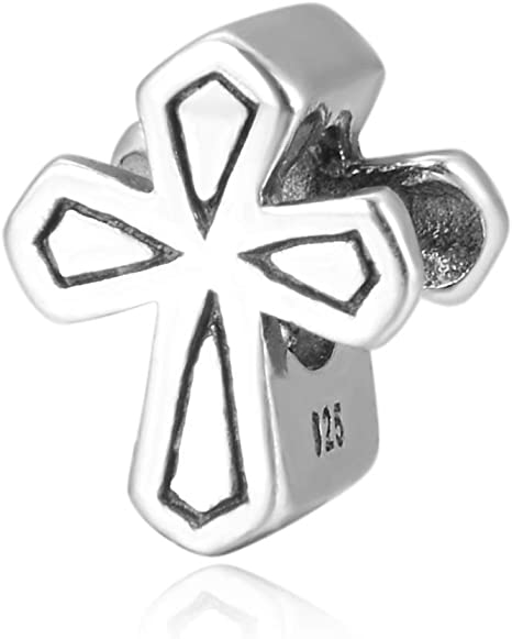 1pc Sterling Silver Charm Gold Celtic Cross Charm Protection Faith Charm Bead Fit All Charm Bracelets Women Girls Birthday Gifts #EC92