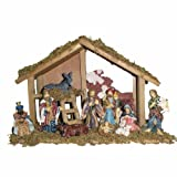 Kurt Adler Wooden Stable with 10 Resin Figures Nativity Set
