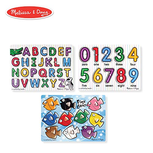 - Melissa & Doug Classic Wooden Peg Puzzles, See-Inside Alphabet & Numbers, and Fish Mix & Match Colors, 3-Pack