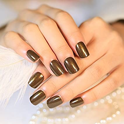 echiq 24pcs/Kit Shimmer – Purpurina uñas postizas café marrón corto brillante acrílico prensa de