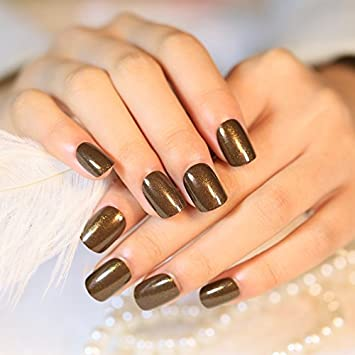 Amazon Coolnail 24pcs Shiny Glimmer Dark Brown Coffee Color