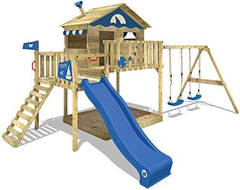 WICKEY Parque infantil de madera Smart Coast con columpio y tobogán azul, Casa de juegos de jardín con arenero y escalera para niños: Amazon.es: Bricolaje y herramientas