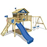 WICKEY Climbing Frame Smart Coast Beach House Playground with Wooden roof, Veranda, Slide and Double Swing