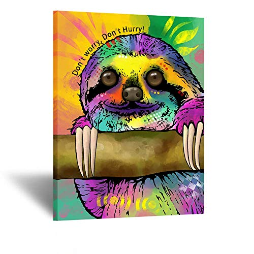 Kreative Arts Funny Animals Home Decor Wall Art Sloth Inspirational Quote Don't Worry Don't Hurry Canvas Prints Abstract Posters and Prints Vertical Painting Walls Hanging Ready to Hang 24x32inch