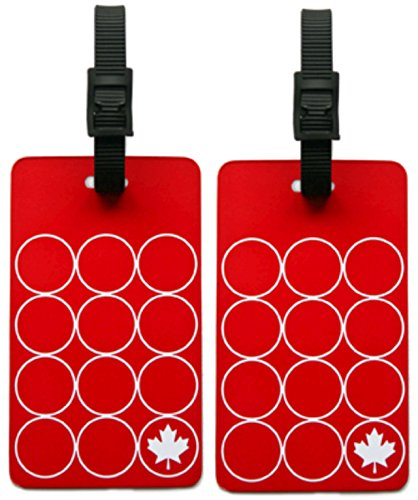 (ORB Travel-EM201-Maple Leaf-Red/White- 2-Pack Luggage Name Tags ID Label Set of 2 Tags Business Card Suitcase)