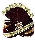 INMONARCH Mens Royal Groom Turban Pagari Safa Groom Hats TU1088 23-Inch Maroon-Golden