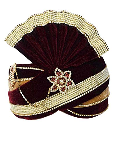 INMONARCH Mens Royal Groom Turban Pagari Safa Groom Hats TU1088 23-Inch Maroon-Golden by INMONARCH
