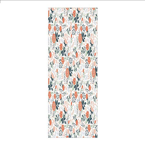 (3D Decorative Film Privacy Window Film No Glue,Floral,Shabby Blooms Nature Inspired Stylish Botanical Beauty Illustration Decorative,Salmon Peach Almond Green,for Home&Office)