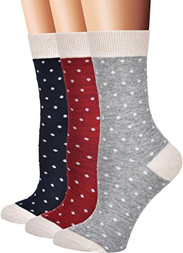Flora Fred Womens Vintage Cotton Crew Socks  Size 9 11   Shoe Size 5 9  Dot  3 Pairs Pack