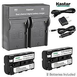 Kastar Dual Fast Charger & 2 x Battery for Sony NP-F330 NP-F550 NP-F570 and CCD-RV100 CCD-RV200 CCD-SC9 CCD-TR1 CCD-TR940 CCD-TR917 Camera CN-126 CN-160 CN-216 CN-304 YN 300 VL600 LED Video Light