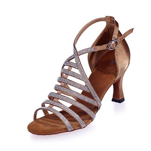 L Arco yc Cuero Zapatos 8349 Con Salón Mujer Brown Artificial Baile 24a Personalizable De Diamante Para Latín 11rqB5d