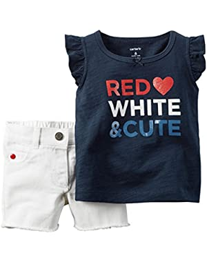 Baby Girls' 4th of July 2-Piece Top & Short Set