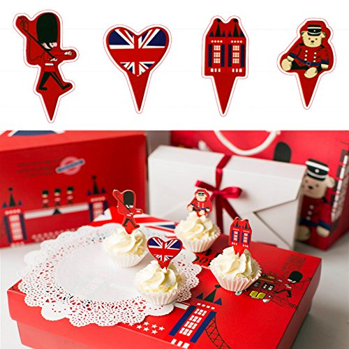 UK London Theme Favor Tags Cupcake Bun Cake Topper Party Decoration, Pack of 95 (Party Supplies Uk)