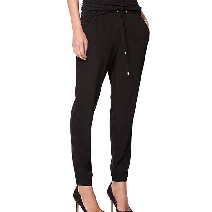Hibote Lange Hosen für Damen Mode Stretchy Chiffon Skinny Hosen Elastischer  Bund Einfarbig Casual Büro OL 7e9af0ed23