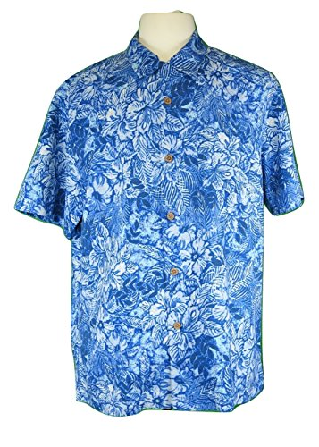 Tommy Bahama Island Zone Greek Batik Silk Camp Shirt (Color Bering Blue, Size XL)