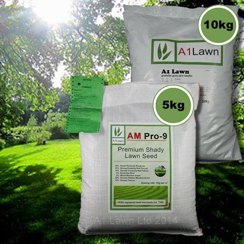 5kg A1LAWN AM PRO-9 SHADY LAWN GRASS SEED & 10kg PRE-SEEDER FERTILISER (MULTI-SAVE PACK)