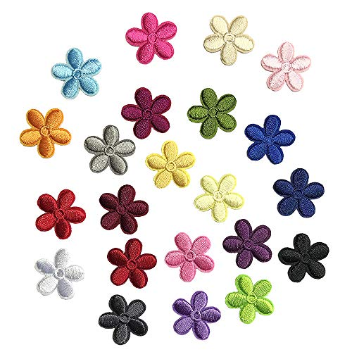 Juland 23PCS Mini Sun Flower Embroidered Patches Self Adhesive Embroidered Custom Backpack Patches for Men, Women, Boys, Girls, ()