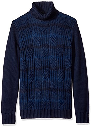 Calvin Klein Men's Ombre Stripe Cable Knit Turtleneck Sweater, Cadet Navy Combo, Medium by Calvin Klein