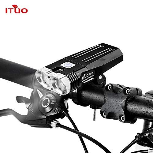 ITUO Led Bike Headlight Flashlight USB Rechargeable Programmable Mountain and Commuter Light Constant 1500 Lumen Road for Cycling Safety Wiz20-Updated Version