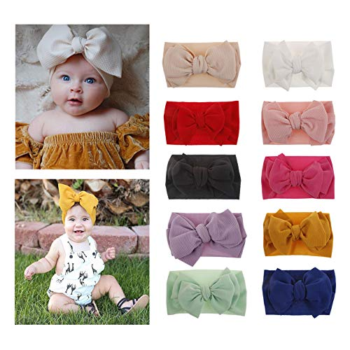 (2019 Big Hair Bow Baby Headbands Knot Headwrap Nylon Elastic Head Wraps for Newborn Infant Toddler Hair Accessories (2019-E 10 Pack))