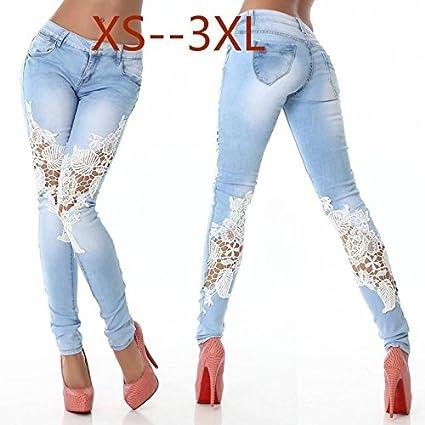 wangxiyan Street Fashion Pantalones vaqueros de encaje para ...