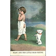 Mary And Her Little Bear Behind Bears Original Vintage Postcard