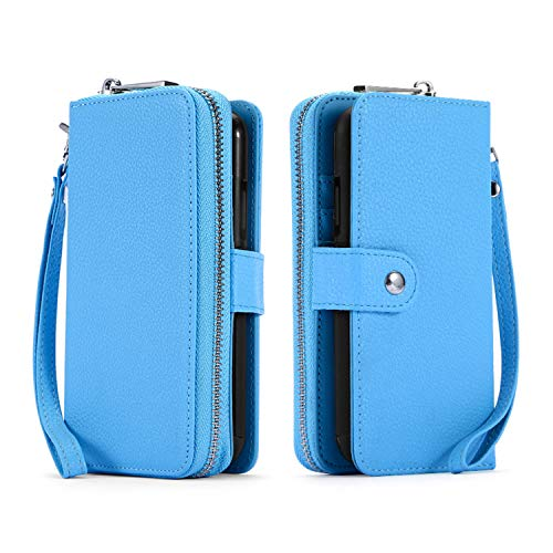 Samsung Galaxy S10 Case, [ Detachable Wallet Folio ][ 2 in 1 ][ Zipper Cash & Cards Storage ][ 3 Card Slots 1 Photo Window ] PU Leather Purse Clutch with Removable Inner Magnetic TPU Case - Blue