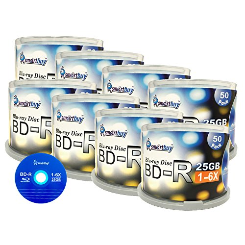 Smartbuy 400 Pack Bd-r 25gb 6x Blu-ray Single Layer Recordable Disc Logo Top Blank Data Video Media 400 Disc Spindle by Smart Buy