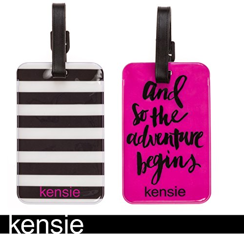 Personalized Sharpie Markers (Kensie 2 Pack Luggage Buckle Closure Tag - Plastic PVC (