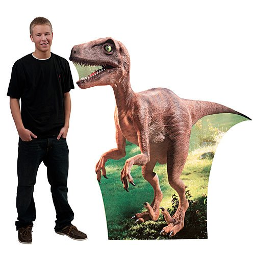 5 ft. 2 in. Velociraptor Dinosaur Large Standee Standup Photo Booth Prop Background Backdrop Party Decoration Decor Scene Setter Cardboard Cutout