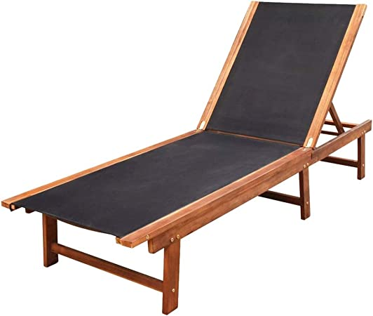 BIGTO Sun Lounger Solid Acacia Wood and Textilene Garden