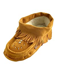 Laurentian Chief Women's Suede Ankle Fringed Soft Sole Beaded Moccasins