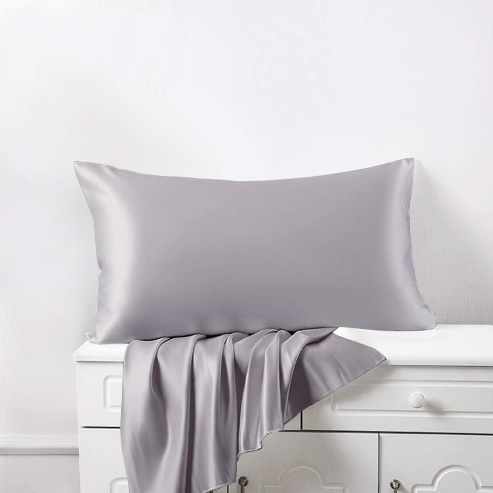 22 Momme Soie de M/ûrier de la Plus Haute Qualit/é 50 x 65cm ElleSilk 100/% Soie Taie doreiller Teinture Naturelle Anti pli de Sommeil Violet Fonc/é