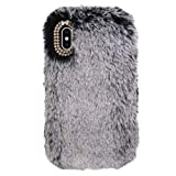 Case for iPhone Xs Max,Miya Fashion Luxury Cute Fur Case Soft Rabbit Fur Hair Plush Full Body Cover Bling Artificial Diamond Bowknot Furry Case for Girls Women Compatible iPhone Xs Max - Dark Gray