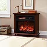 Kosmo Supply Dark Walnut Large Room Electric Quartz Infrared Fireplace Heater Deluxe Mantel