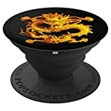 Fearless Golden Chinese Dragon Silhouette 3D Effect - PopSockets Grip and Stand for Phones and Tablets