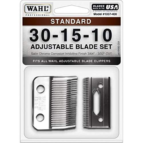 Wahl Professional Animal #30-15-10 Standard Adjustable Blade Set for Wahls Pro Ion, Iron Horse, Show Pro Plus, U-Clip, and Deluxe U-Clip Pet, Dog, and Horse Clippers (#1037-400)