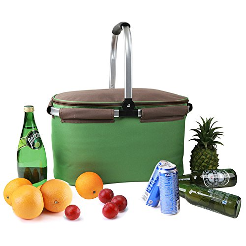 Insulated Picnic Basket Cooler Bag 22L for Camping BBQ Outdoor Sports (Green)