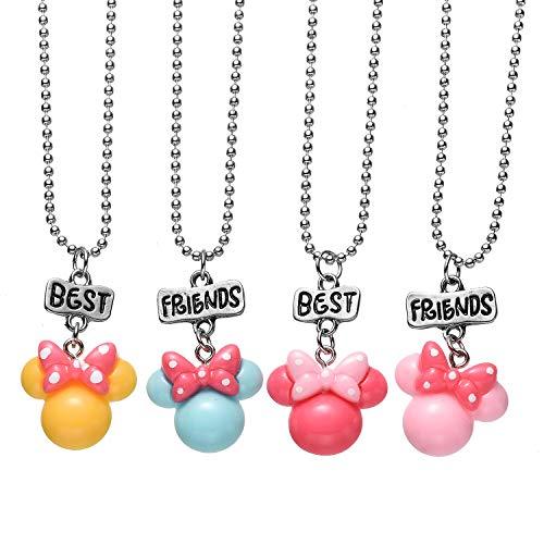 Price comparison product image Pibupibu 4 Packs BFF Best Friends Kids Children Resin Pendant Necklace (Mouse Head)