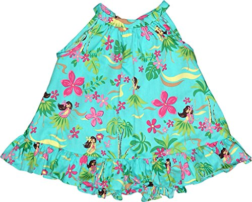 RJC Baby Girl's Hula Spring Halter Hawaiian 2 Piece Dress Set Teal 18-months